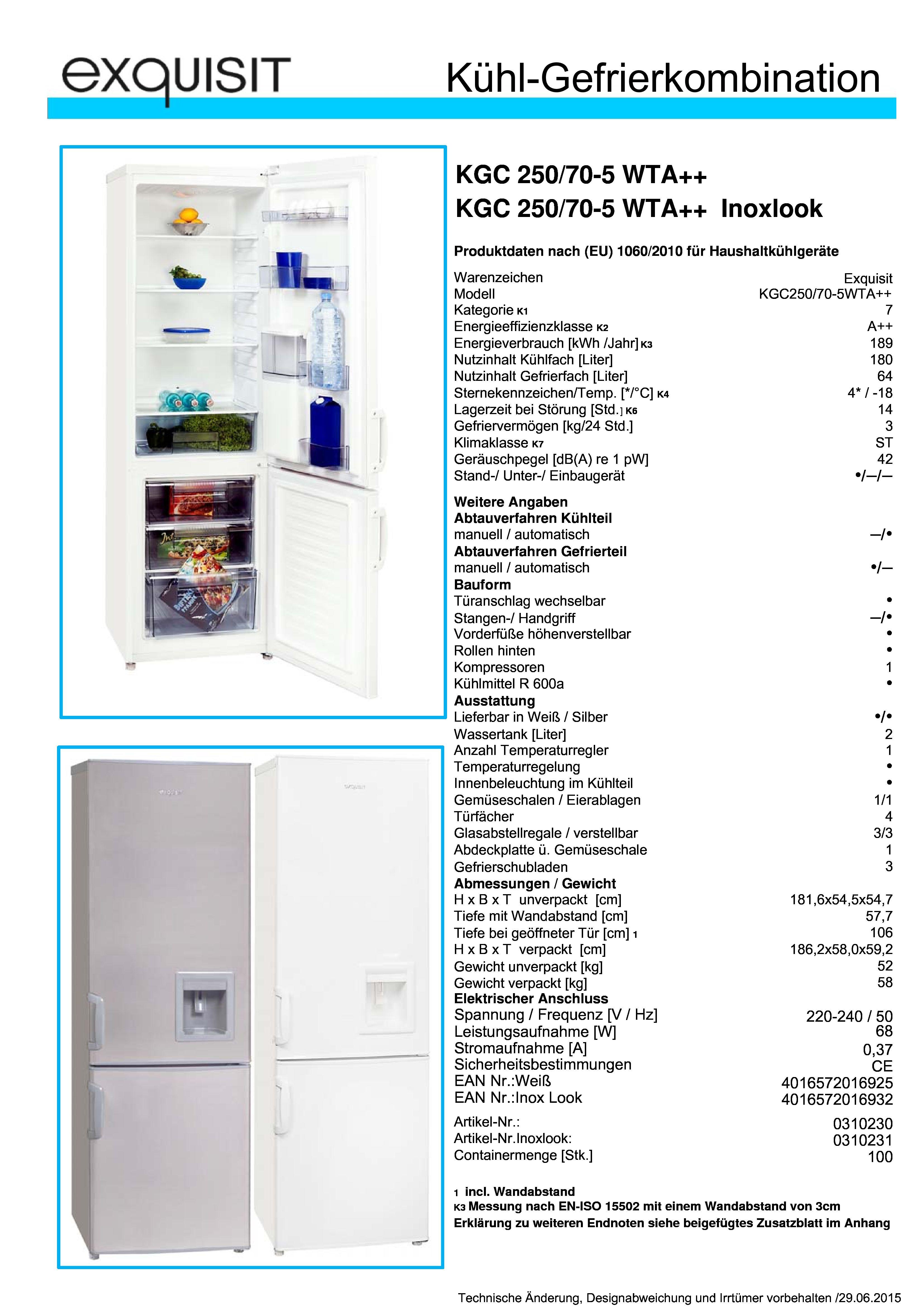 exquisit kgc 250 70 a stand k hl gefrierkombination 55. Black Bedroom Furniture Sets. Home Design Ideas